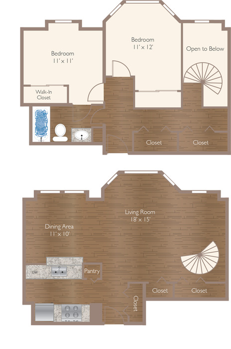 Raleigh 2B Townhome 1176 Floor Plan Image